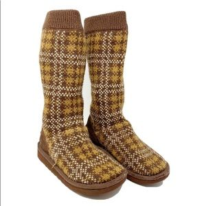 UGG knit plaid brown mid calf boots size 6